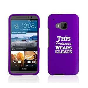 HTC One M9 Snap On 2 Piece Rubber Hard Case Cover This Princess Wears Cleats Softball Soccer Lacrosse (Purple)