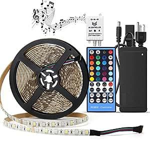 SUPERNIGHT 5050 RGBW Music LED Strip Kit DC12V RGB + Cool White Color Mixed Waterproof LED Tape Light w/ 44key Music IR Controller Party LED Lights + DC12V Power Supply LED DIY Lights Full Kit