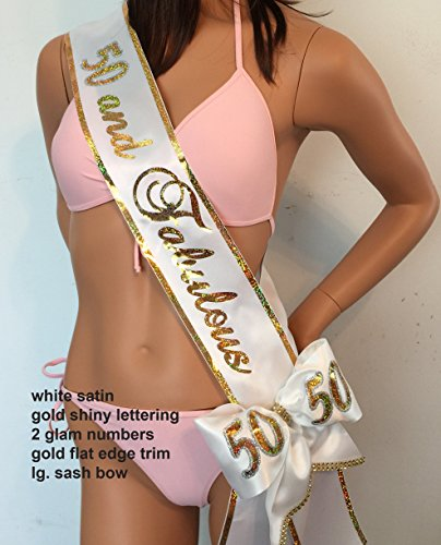 50th Birthday Sash; Sweet 16 Sash, 21st Birthday Sash, 21, 40, 50, 60 Birthday Sash. Trim, Bling, Shoulder Zazzle and Bows available for extra sparkle at an add'l cost. By SashANation ()