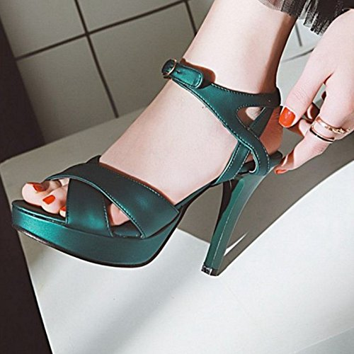 SJJH Sandals with High Thin Heel Fashion Sandals with 4-Colors and Large Green g4IpQ8