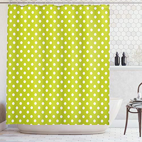 - Ambesonne Retro Shower Curtain, Vintage Old Fashioned 60s 70s Inspired Polka Dots Pop Art Style Art Print, Cloth Fabric Bathroom Decor Set with Hooks, 75 Inches Long, Lime Green and White