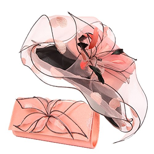 June's Young Women Race Hats Organza Hat with Ruffles Feathers (Pink)