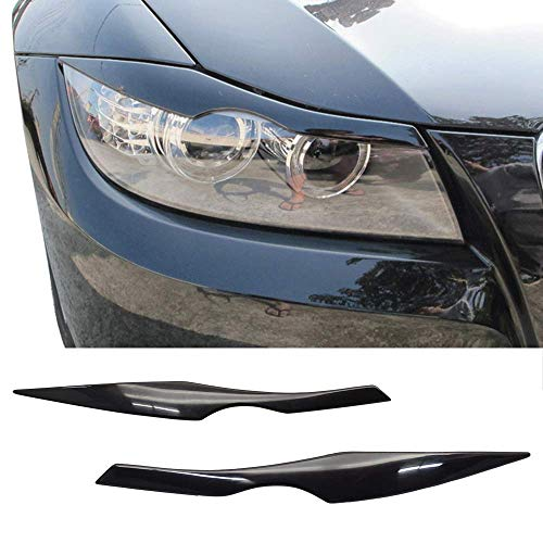 Eyelid Fits 2006-2011 BMW 3 Series E90 | Unpainted Black ABS Front Headlight Eyebrow Eyelid Cover Other Color Available By IKON MOTORSPORTS | 2007 2008 2009 2010