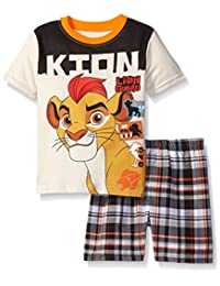 Disney Boys' 2 Piece Lion Guard Kion Screened Patches To Plaid Short Set