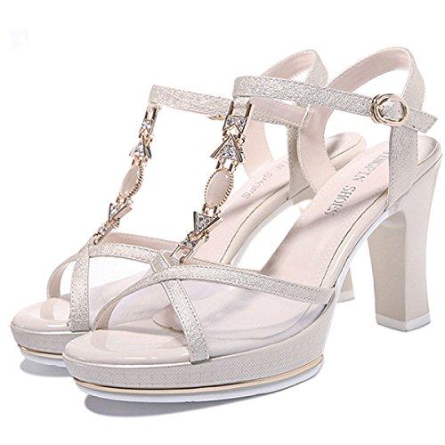 Talons Mode Rugueux Talons à gold Hauts Femmes Et Amérique Strass Chaussures pour Sandales DKFJKI Europe FXwOxqAIF