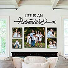 """BATTOO Life is an Adventure - Inspirational Vinyl Wall Decal Quote Inspiring Entry D¨¦cor Photo Wall D¨¦cor(Black, 8.5""""h x34""""w)"""