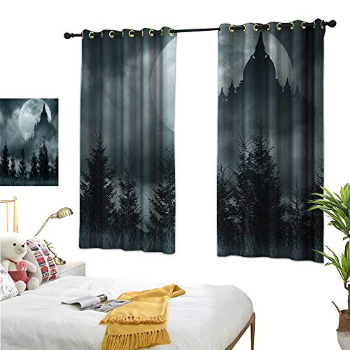 Warm Family Curtain tiebacks Halloween,Magic Castle Silhouette Over Full Moon Night Fantasy Landscape Scary Forest,Grey Pale Grey 72