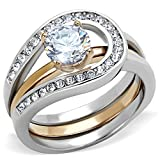 FlameReflection 1Ct Round Cut Two Toned Stainless Steel 2 Piece Wedding Ring Set Women's size 7 SPJ