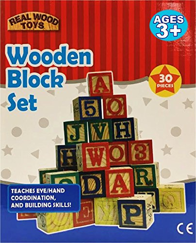 30 Piece Stack 'N Build ABC Wooden Blocks Set Joy Red Letters
