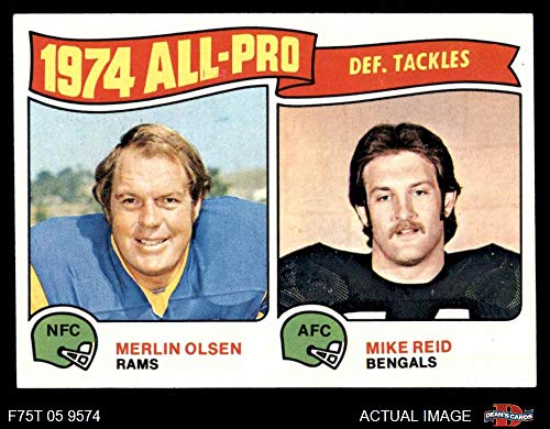 - 1975 Topps # 215 All-Pro Defensive Tackles Merlin Olsen / Mike Reid Rams / Bengals (Football Card) Dean's Cards 5 - EX Rams / Bengals
