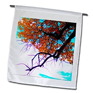 Jos Fauxtographee Fall - A tree with orange and red leaves on a blue sky - 12 x 18 inch Garden Flag (fl_79979_1)