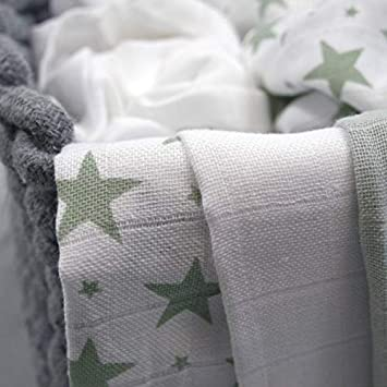 Sage Star MuslinZ 6pk Baby Muslin Squares Burp Cloth 100/% Cotton 70x70cm