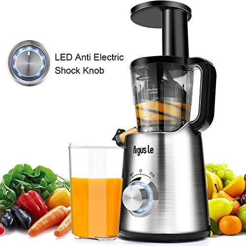 Argus Le Easy to Clean Slow Masticating Juice Extractor with Extreme Quiet Motor, Cold Press Juicer Machine with Reverse Function, High Nutrient and Vitamins for All Fruits and Veggies