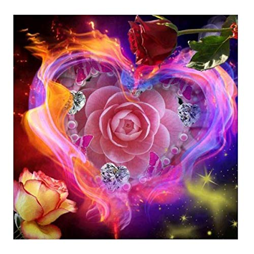 MXJSUA 5D Diamond Painting Full Round Drill Kits for Adults Pasted Embroidery Cross Stitch Arts Craft for Home Wall Decor Pink Rose - Rose Vintage Cross Stitch