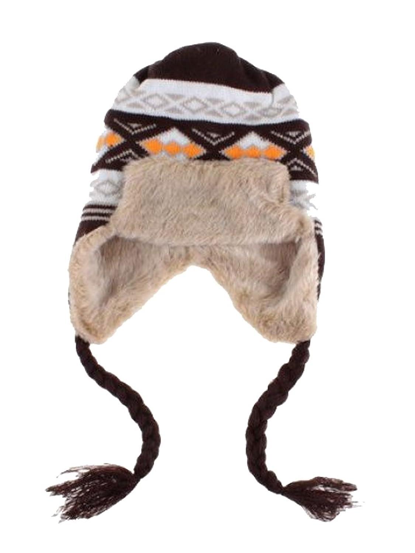 Tschapka Winter Skimütze mit Kunstfell gemustert