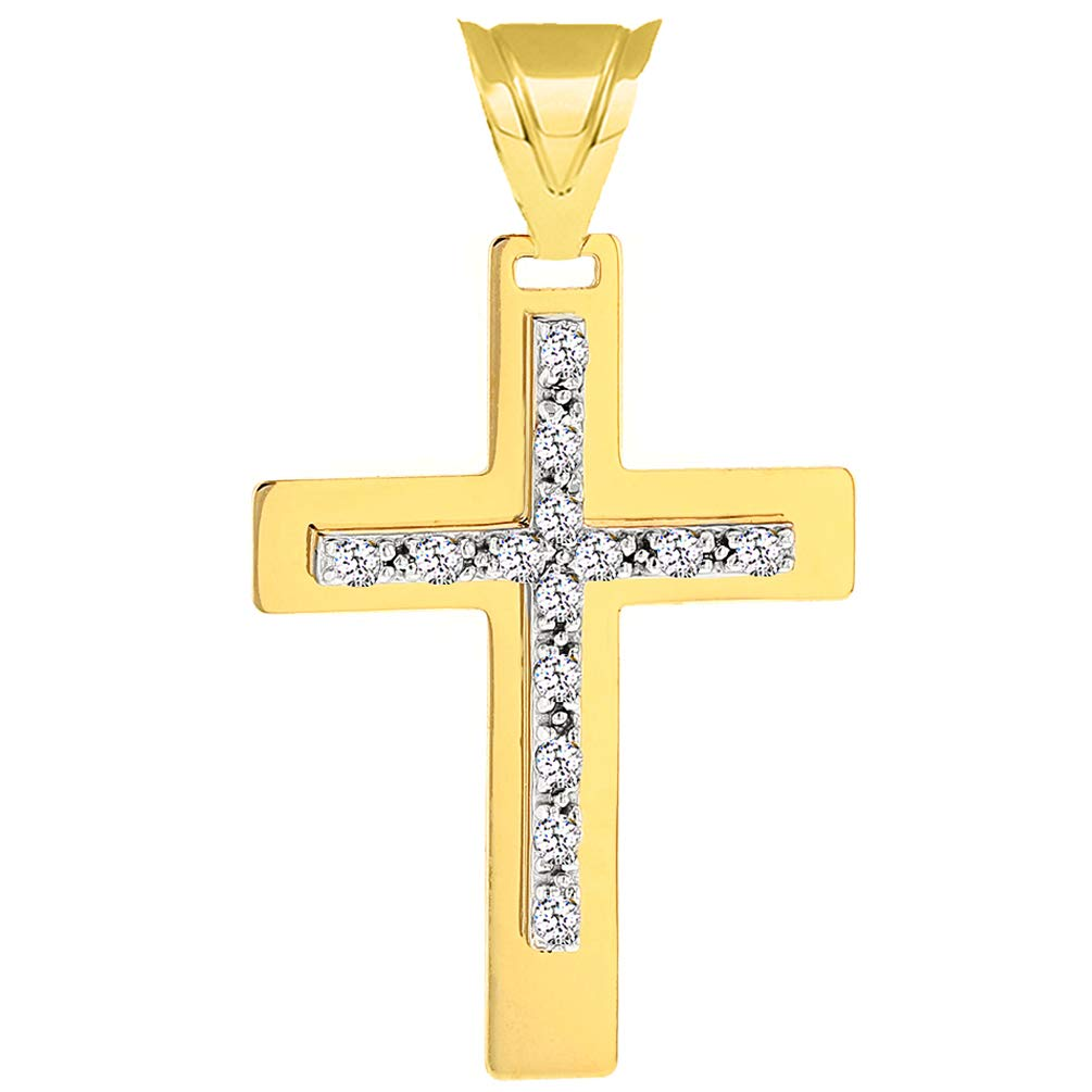 Solid 14k Two-Tone Gold Cubic Zirconia Latin Cross Pendant Necklace