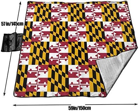 Grande Coperta da Picnic all'aperto Bandiera del Maryland Pride Sandproof Beach Mat Tote per Campeggio Escursionismo Erba in Viaggio
