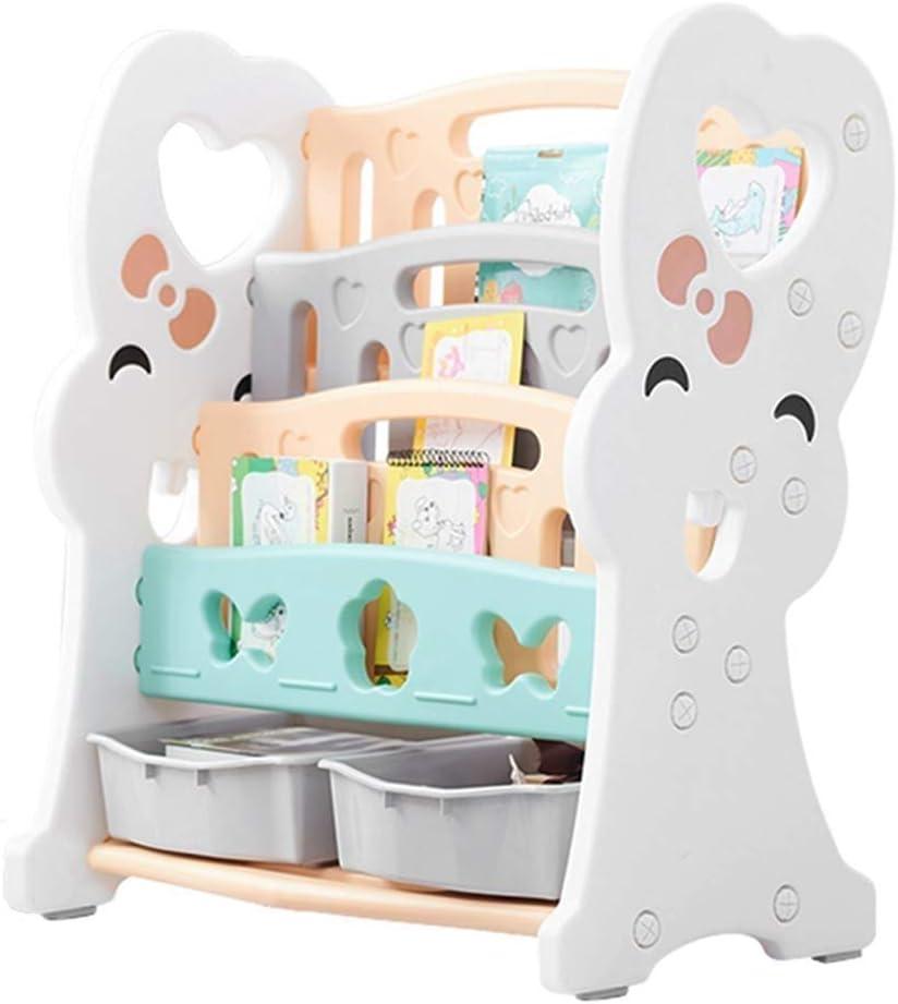 TONGSH 子供カラフルな2引き出し玩具コンテナ収納ボックス付き3層スリングブック収納オーガナイザーブックラック棚棚ユニット