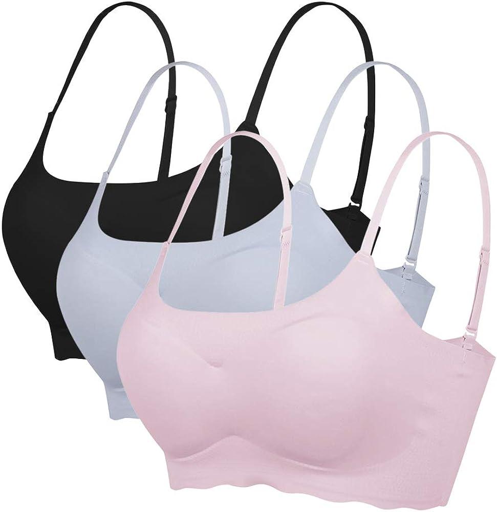 Dihope Juego de 2//3 Sujetadores de Deporte para Mujer sin Estructura sin Costuras para Gimnasio c/ómodo Sujetador Acolchado Push Up Yoga