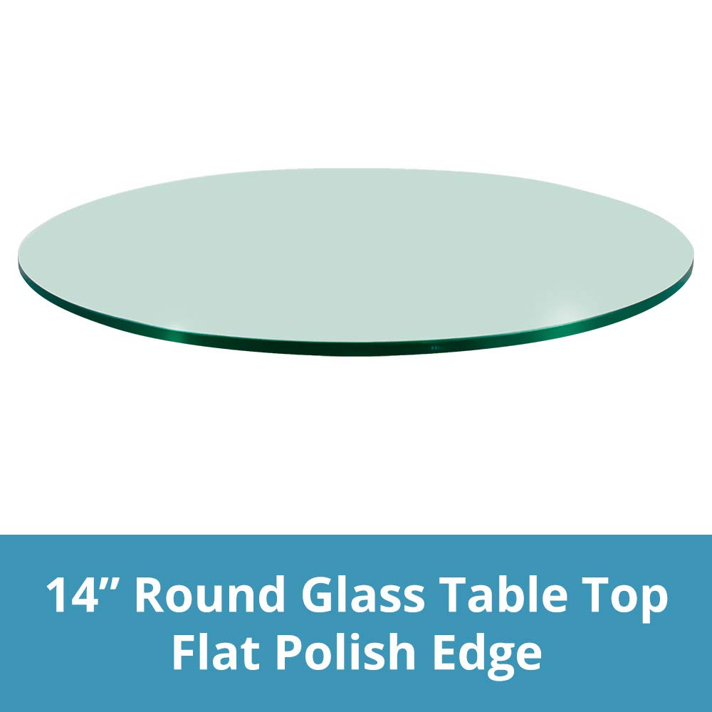 Troysys Round 3/8 Inch Thick Flat Polished Tempered Glass Table Top (14 Inch)