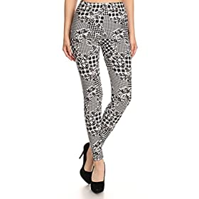 - 51fDvnxbKOL - Print Leggings Orchids and Houndstooth (N532-OS)