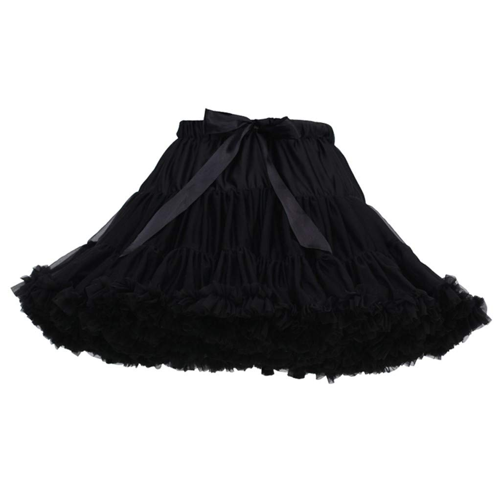 Women's Tulle Skirts A-Line Mini Skirts Fashion Sexy Solid Color Party Dance Ballet Bow Short Tutu Skirts (Free Size, L)