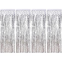 Joyclub Silver Foil Fringe Curtain Metallic Photo Booth Tinsel Backdrop Door Curtains for Wedding Birthday and Special Festival Decoration(4 Pack, 12ft x 8 ft)