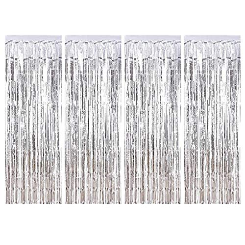 BTSD-home Silver Foil Fringe Curtain, Metallic Photo Booth Tinsel Backdrop Door Curtains for Wedding Birthday and Special Festival Decoration(4 Pack, 12ft x 8 ()