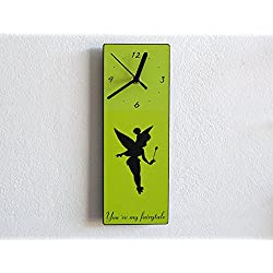 TinkerBell Fairy - You're My Fairytale - Butterfly Wings - Peter Pan - Custom Name Wall Clock