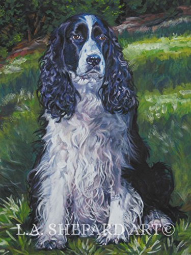 A English Springer Spaniel dog art portrait print of an LA Shepard painting 12x16