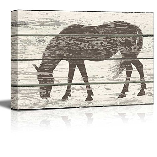 Grazing Horse Silhouette Artwork Rustic