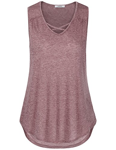 Youtalia Tank Blouses for Women, Fashion 2017 Summer Sleeveless V Neck Loose Fitting Tank Tops(X-Large,Wine)