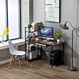 Cheap Office Desktop Laptop Computer Compact Desk with 4 Shelves, Home Study Writing Table with Storage (Teak)