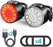 Bike Light Set, USB Rechargeable Bike Front Light and Tail Light Combination, IPX4 Waterproof Standard, 6 Ligh