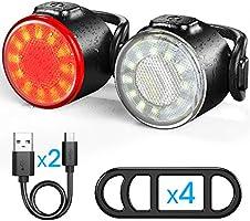 Luces Bicicleta, Luces Delanteras y Traseras Recargables USB Para Bicicleta, Impermeable LED Luz Bicicleta, 6 Iluminación...