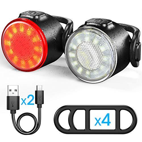 Luces Bicicleta, Luces Delanteras y Traseras Recargables USB Para Bicicleta, Impermeable LED Luz Bicicleta, 6 Iluminacion Modos Luz de alerta, Luces Seguridad Para Ciclismo de Montana y Carretera