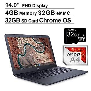 2020 HP Chromebook 14 Inch FHD 1080P Laptop, AMD A4-9120e up to 2.2 GHz, 4GB DDR4 RAM, 32GB eMMC, WiFi, HDMI, Chrome OS, Ink Blue + NexiGo 32GB MicroSD Card Bundle (Renewed)