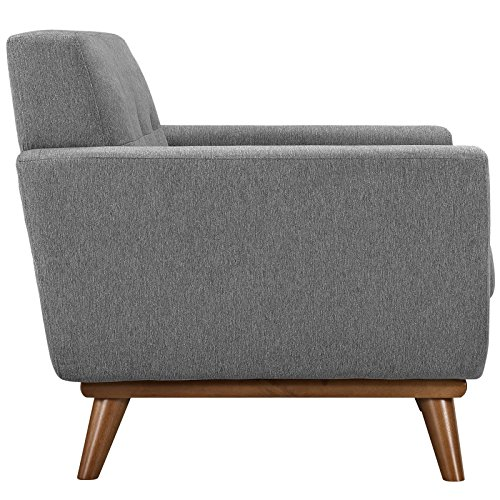 Modway Engage Mid-Century Modern Upholstered Fabric Two Armchair and Loveseat Set In Expectation Gray