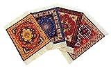Set of 4 Rug Table Coasters – Oriental Design Fabric Carpet Drink Mats (Mix-2)