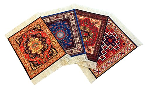 - Set of 4 Rug Table Coasters - Persian Design Fabric Carpet Drink Mats (Mix-2)