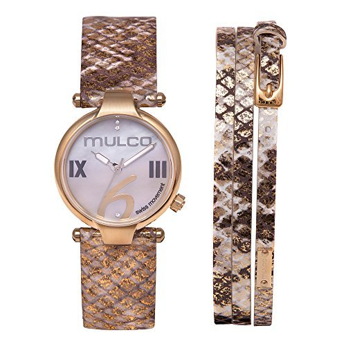 Mulco Mini Donna Swiss Quartz Analog Movement Women's Watch | Mother of Pearl Sundial with Swarovski Stainless Steel Accents | Phyton Watch Band | Water Resistant Stainless Steel Watch MW5-4239-222