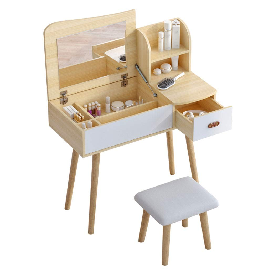 Yuanjiashop Schminktisch Vanity Set mit Spiegel & gepolstertem Hocker Schminktisch Vanity Makeup Table 1 Schubladen Holzfarbe Kosmetiktisch (Größe : 80cm)