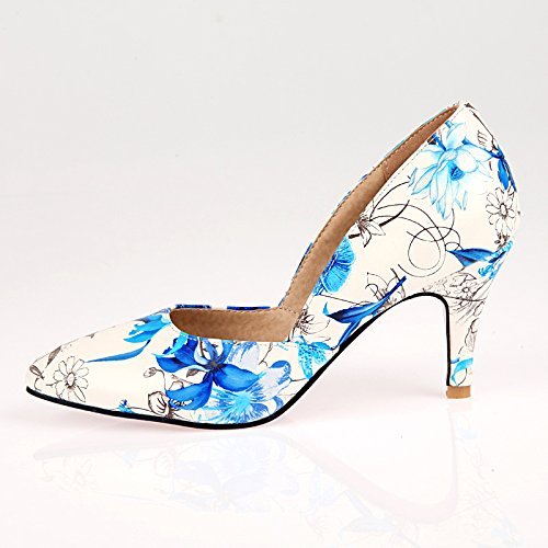 High Blue Charm Floral Pumps Womens Shoes Print Foot Heel Iw8qwxRH