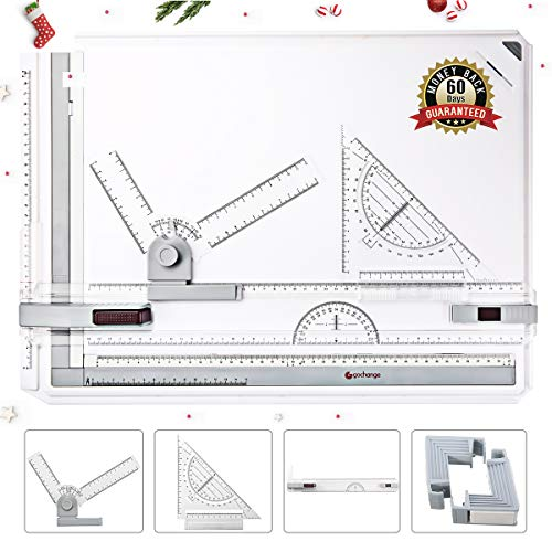 Ruler Drafting (GOCHANGE Drawing Board, A3 Drawing Tool Set Multi-Funtion Drawing Board Table Graphic Architectural Drawing Board With Clear Rule Parallel Motion And Adjustable Measuring System Angle)