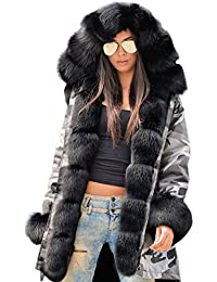 Womens Hooded Faux Fur Lined Warm Coats Parkas Anoraks Outwear Winter Long Jackets