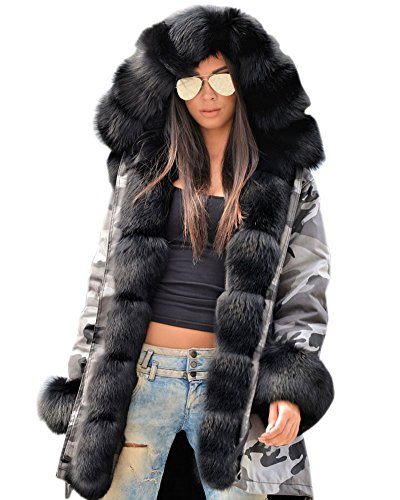 Aofur Womens Hooded Faux Fur Lined Warm Coats Parkas Anoraks Outwear Winter Long Jackets (Large, Grey_Black Fur)