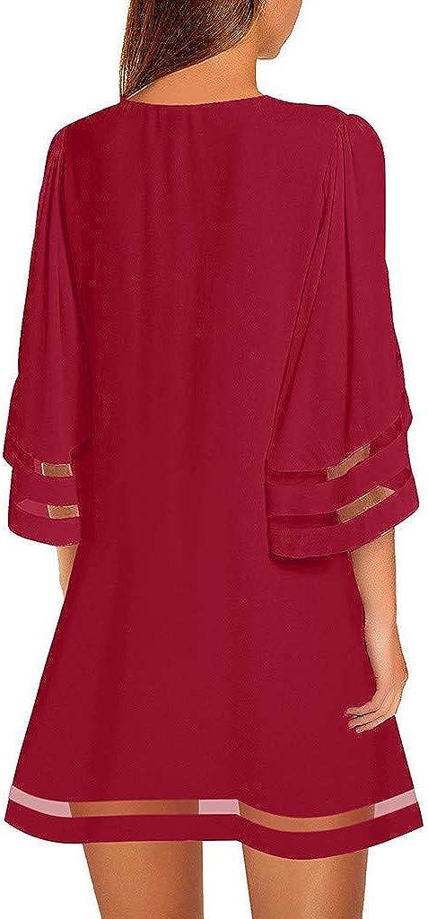 Fhuuly Robe Femme Chic Courte Chemisier /à Empi/ècement en Maille /à Encolure 3//4 Manches Cloche Robe Chemise Ample