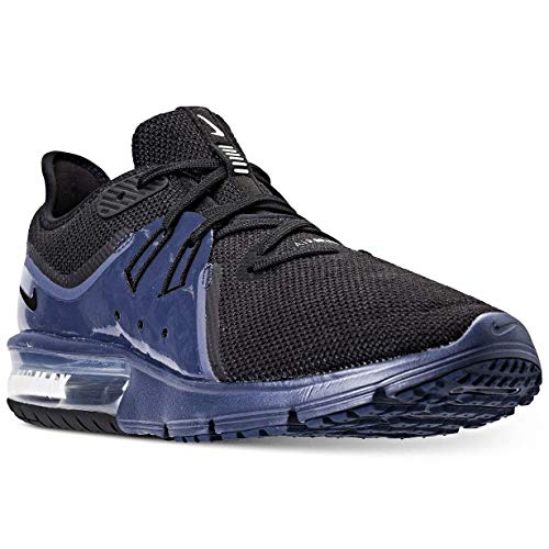 NIKE Men's Air Max Sequent 3 Running Shoe, Size 10, Black/Black-Navy Blue-White