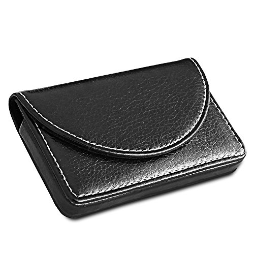 Leather Index Card Holder (KINGFOM Premium PU Leather Business Name Card Holder Case Universal Card Keep Wallet with Magnetic Shut Black (Hold 25 pcs of cards))