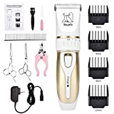 Bojafa Dog Grooming Clippers Kit Cordless Professional Low Noise Quiet Pet Clippers Rechargeable for Dogs Cats Hair Clippers Shaver Dogs Grooming Kit Set